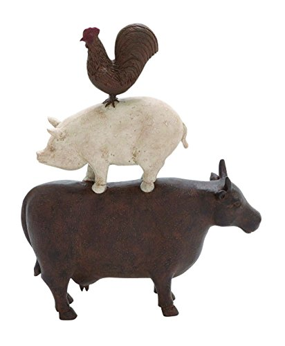 Rooster Trio - Plutus Brands Traditional American Farm Art Trio of Poly Stone Cow, Pig and Rooster
