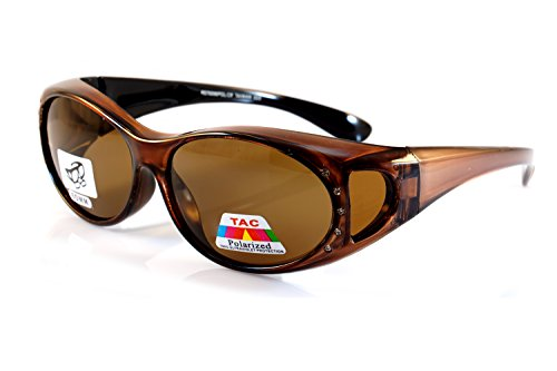 FBL Rhinestone Oval Polarized OTG Sunglasses with Side View P011 (Brown) (Glasses Rhinestone Brown Reading)
