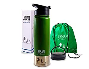 URBAN HYDROFIT Stainless Steel Sports Water Bottle Insulated Travel Mug Keeps Drinks Cold 24 Hours or Hot 18 Hours plus 2 Lids and Sack