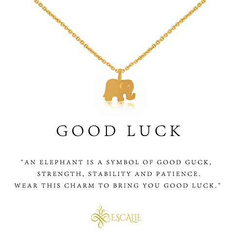 klace, Elephant Pendant Necklace, 24K Gold Plated, Lucky Symbol, 16