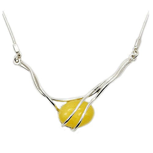 The Silver Plaza Elegant Sterling Silver Natural Butterscotch Baltic Amber Necklace