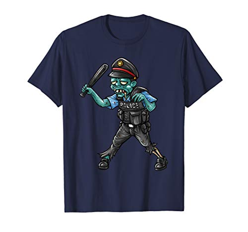 Halloween Zombie Police T-Shirt Illustration Undead Cop
