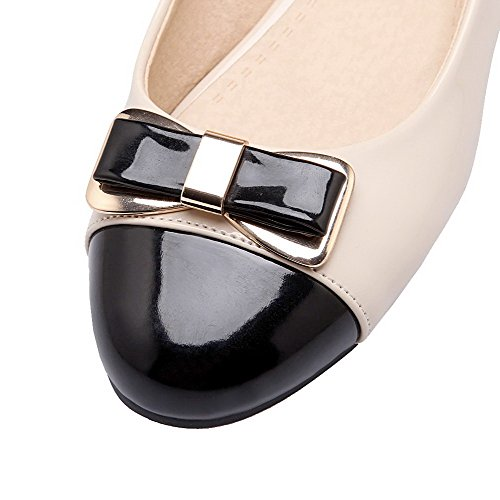 Women's Round PU Heels Pull WeenFashion Toe On Court Color Shoes Assorted Beige Low d8pfq4na