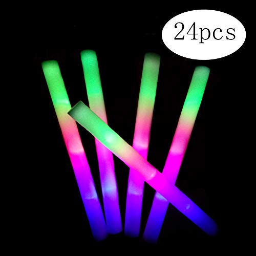 Yu'An Foam Glow Sticks Party Pack, Multicolor LED Light Up Sticks Toys with 3 Flashing Modes for Party Supplies Favors Festivals Birthday Wedding Christmas