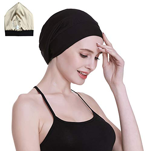 Satin Cap 100% Mulberry Silk Lined Sleeping Hats for Natural Hair Black ()