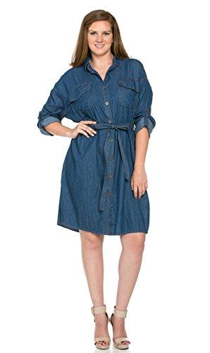Plus Size Denim Slit Shirt Dress in Dark Wash