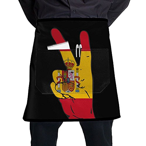 QDKDHBBG Peace Sign Of Spain Flag Anti-fouling Restaurant Apron by QDKDHBBG