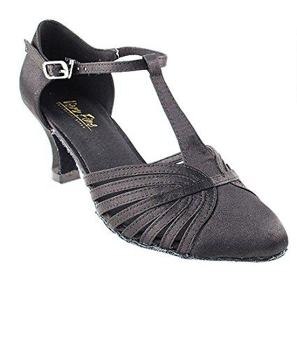 Très Belle Salle De Bal Latin Tango Chaussures De Danse Salsa Pour Les Femmes 6829 2,5 Talon + Pliable Chaussure Brosse Bundle Noir Satin