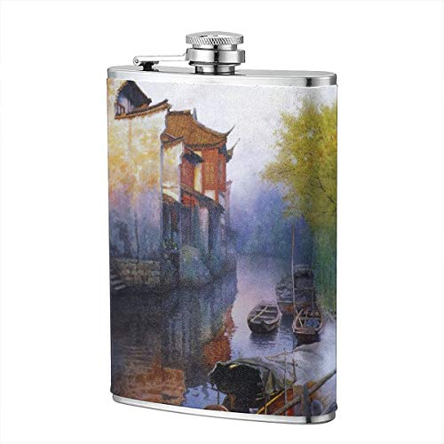 Hanging Decorations Flask for Gifts-8 Oz Premium Soft Touch Leather Wrap Water Towns Villages in China Stainless Steel Whiskey]()
