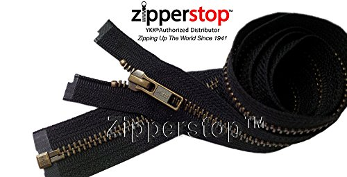Zipperstop Wholesale YKK- Jacket Zippers YKK #5 Antique Brass- Metal Teeth Separating for Crafter's Special Color Black #580 Made in USA -Custom Length (26 inches)