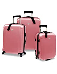 Travelers Choice Freedom Lightweight Hard-Shell Spinning Rolling Luggage Set, Large, 3-Piece (Dusty Rose)