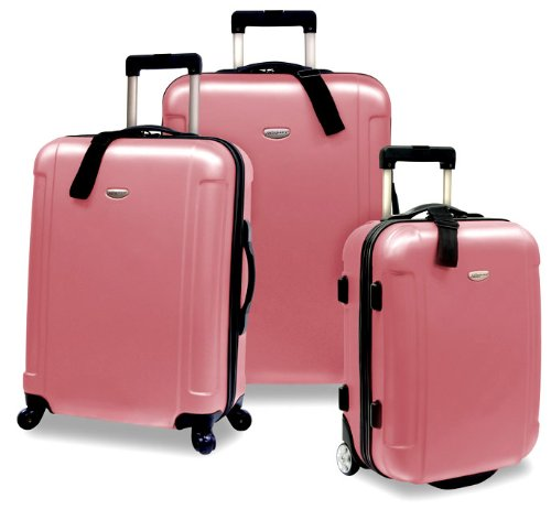 Luggage Piece 3 Wheeled Set (Traveler's Choice Freedom 3-Piece Lightweight Luggage Set, Dusty Rose (20