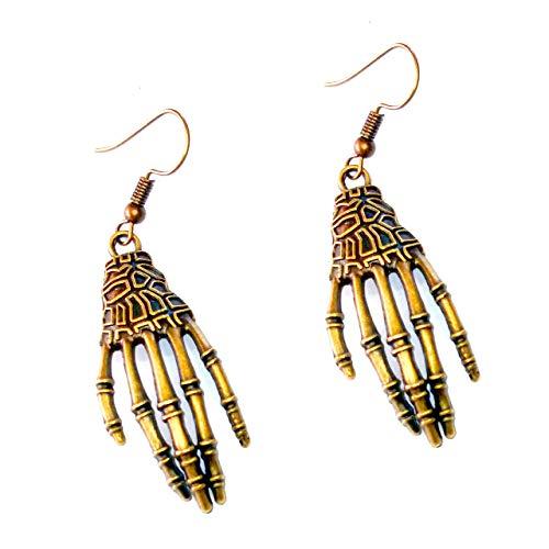 - Golden Skeleton Hand Drop Earrings [Goth, Punk, Halloween]