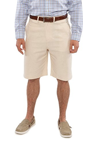 TexereSilk Texere Men's Linen Flat Front Shorts (Straw, Medium) Top Birthday Special Occasion Gifts For Dad Brother Husband Son (Special Occasion Gifts)
