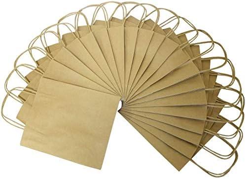 folia 21210 - Papiertüten aus Kraftpapier, Geschenktüten, 20 Stück, ca. 12 x 5,5 x 15 cm, natur - zum Basteln, Verzieren und Verschenken