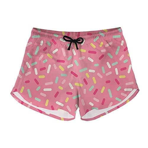 JoyLamoria Women's Casual Board Shorts Colorful Donut Sprinkles Pattern Waistband Drawstring Beach Bottom Swim Shorts Swimsuit,XL