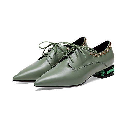 Casual Chaussures Green de Broch Dentelle Wearable ville Zpedy Confortable Pointu 4PqxXPd