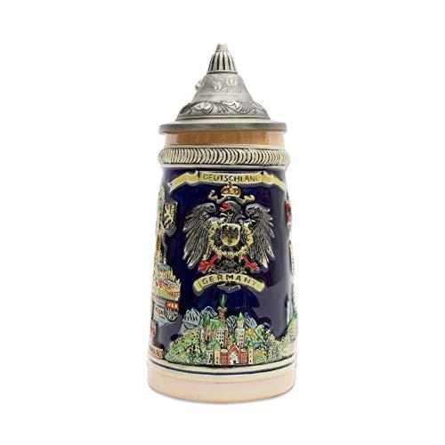 Beer Stein German Landmarks Collectible Engraved Lidded Beer Mug by E.H.G | .55 Liter