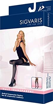 Sigvaris Truly Transparent Thigh High With Grip Top 30-40mmHg Closed Toe Short Length, Medium Short, Natural