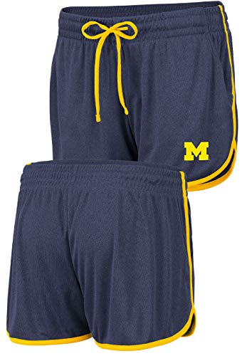 - Women's NCAA Toulon Polyester Gym Style Shorts (Medium, Michigan Wolverines)