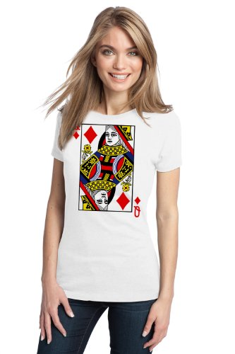 QUEEN OF DIAMONDS Ladies' T-shirt / Card Costume Tee Shirt, Magic Trick Tee