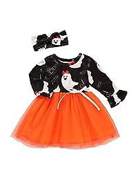 KONFA Teen Toddler Baby Girls Halloween Costume,Cartooon Ghost Print Dress,for 0-3 Years,Little Princess Long Sleeve Skirt