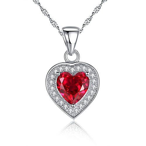 MABELLA Sterling Silver Heart Necklace 1.6 CTW Simulated Ruby Pendant with Cubic Zirconia Christmas Gifts for Women