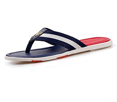 Xing Lin Sandalias De Hombre Zapatos De Hombre Grande Flip-Flops Hombres Zapatillas De Cuero Calzado Casual Sandalias De Playa De Verano Blue and Red