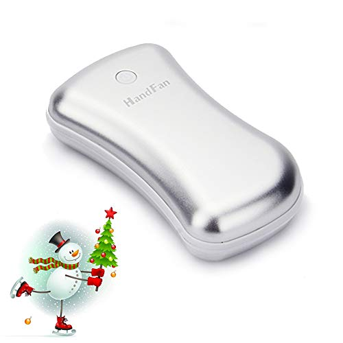 Rechargeable Hand Warmer, HandFan Ergonomic Metal USB Electric Hand Warmer Pocket Portable Hand Warmer Small Hand Warmers for Women/Men/Kids+5200mAh 2.1A Power Bank+LED Flashligh
