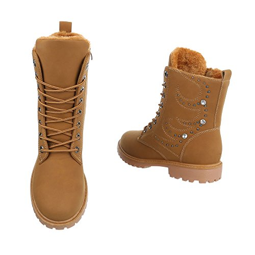 Women's Boots Block Heel Lace-Up Ankle Boots at Ital-Design Camel uPLwUYJvZw