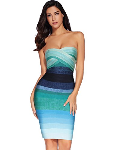 Meilun Women's Rayon Knee-Length Bandage Bodycon Strapless Rainbow Dress (Small, Blue)