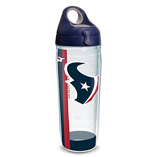 Water Bottle Houston (Tervis 1231118 NFL Houston Texans Stripe Tumbler with Wrap and Navy with Gray Lid 24oz Water Bottle, Clear)