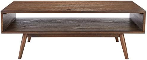Signature Design by Ashley – Kisper Contemporary Rectangular Coffee Table w Storage Shelf, Dark Brown