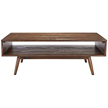 Ashley Furniture Signature Design - Kisper Contemporary Rectangular Cocktail Table with Storage Shelf - Dark Brown