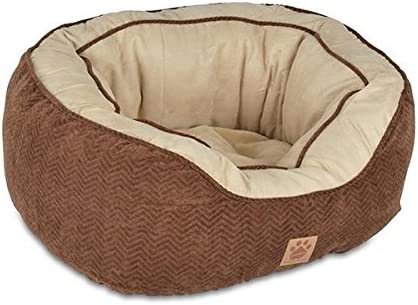 FMZG Round Pet Bed for Cats and Dogs Oval Plush Soft Warm Washable Premium Dog and Cat Bed Self-Warming Lounge Sleeper
