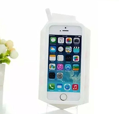 """Lovley Cute Fashion Realistic Milk Box Cellphone Protctive Shell Colorful Case for iphone 5s Soft Silicone Back Cover for iphone 5 iphone 5g,with Gift """"BIG MANGO"""" Neck Strap -White"""