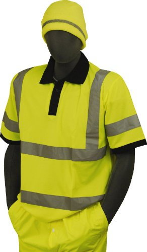 """Majestic Glove 75-5311 Birdseye Polyester High Visibility Polo T-Shirt with 2"""" Reflective Tape, 6X-Large, Yellow"""