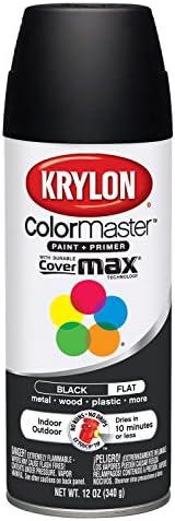 Krylon K05160202 ColorMaster Paint + Primer، Flat، Black، 12 oz.