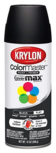 Iron Black Enamel - Krylon K05160202 K05160207 Colormaster Paint & Primer, Black, Flat, 12 oz
