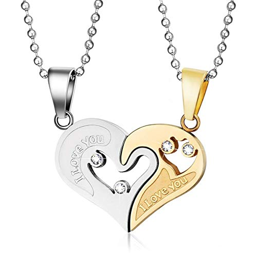 MMTTAO Stainless Steel Mens Womens Couple Pendant Necklace for His and Her 18K Gold Plated Puzzle Love Heart CZ Friendship Matching Set Charms Pendant for Men Women Gifts, I Love You, 2Pcs(Steel Gold) (Heart Set Charms)