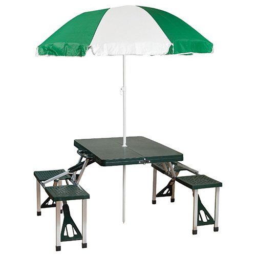 (Stansport 615 Picnic Table and Umbrella Combo Pack, Green)
