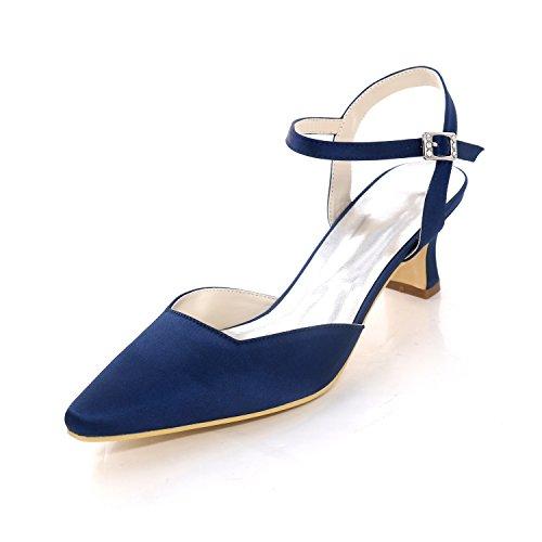 Hochzeit Abend Dunkelblau Pump Schnalle amp; Blockabsatz Karree Blue Für Damenschuhe Rot Schuhe Silber Satin 35 Hochzeit vAA8f