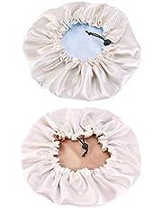kowaku 2 Pieces Ladies Night Bonnet Cap Reversible Adjustable Headgear