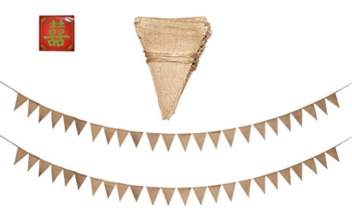 hower Wedding Party Decoration Stringed Pennant Rustic Blank Burlap Fabric Pendant Banner Flags (Triangle, 48 PCs) ()