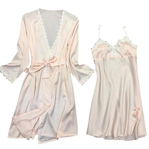 Women's Nightdress Yalatan Robe Set Bathrobe Comfortable Lightpink Set 2Pcs Txdqwvd