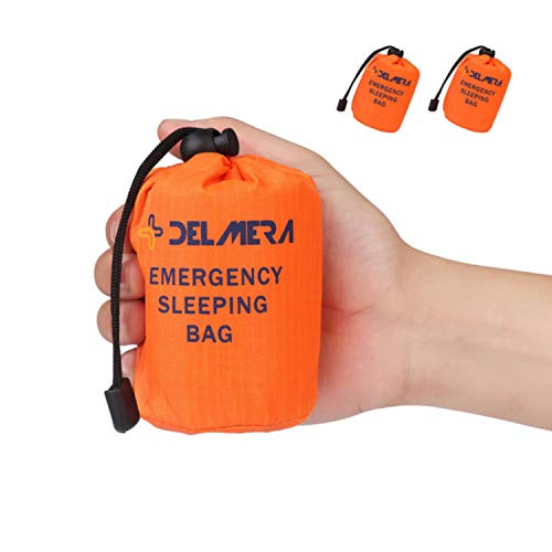 Delmera Emergency Survival Sleeping Bag, Lightweight Waterproof Thermal Emergency Blanket, Bivy Sack with Portable Drawstring Bag for Outdoor Adventure, Camping, Hiking, Orange (Orange-2 Packs) by Delmera