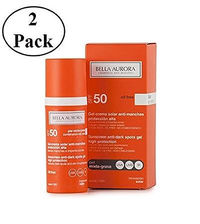 Bella Aurora Sunscreen Anti-dark Spots Gel Spf 50+ Combined-oily Skin 50ml