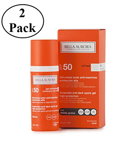 Bella Aurora Sunscreen Anti-dark Spots Gel Spf 50+ Combined-oily Skin 50ml (Pack of 2)