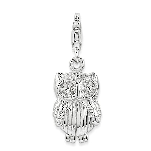 Mia Diamonds Solid 925 Sterling Silver with Rhodium-Plated Owl Charm