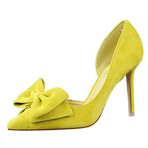 (Sam Carle Women Pumps, Solid Color Suede Bow-Tie High Heel Pointed Toe Nightclub Shoes)